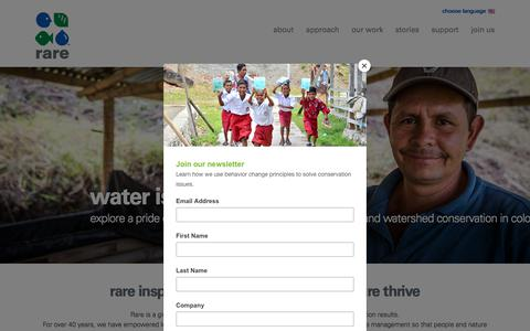 Screenshot of Home Page rare.org - Rare | rare inspires change so people and nature thrive - captured Sept. 25, 2018