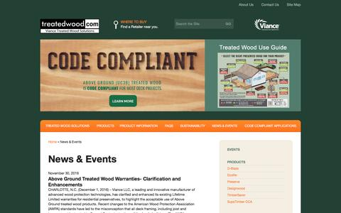 Screenshot of Press Page treatedwood.com - News & Events - Treatedwood.com - captured Dec. 3, 2016