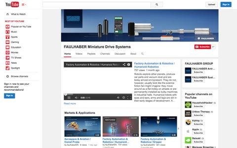 Screenshot of YouTube Page youtube.com - FAULHABER Miniature Drive Systems  - YouTube - captured Oct. 23, 2014