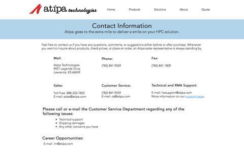 Screenshot of Contact Page atipa.com - atipa | Contact - captured Oct. 9, 2017