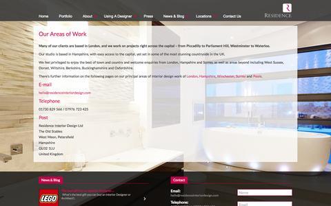 Screenshot of Locations Page residenceinteriordesign.com - Luxury Interior Design in London, Surrey, Hampshire & Dorset - Residence Interior Design - captured Oct. 26, 2014