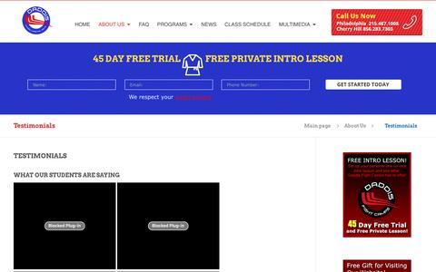 Screenshot of Testimonials Page phillymma.com - Testimonials - Daddis MMA | PHILADELPHIA & CHERRY HILL - captured May 24, 2016