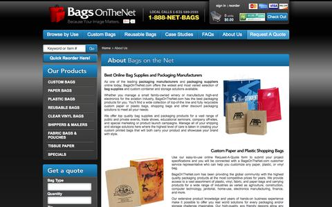 Screenshot of About Page bagsonthenet.com - About Bags On The Net - Custom Printed Bags & Reusable Bags for Sale - captured Sept. 19, 2014