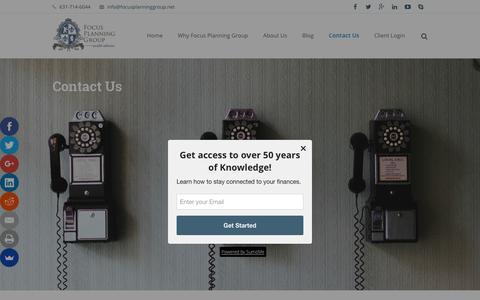Screenshot of Contact Page focusplanninggroup.net - Focus Planning Group  –  Contact Us - captured Feb. 10, 2016