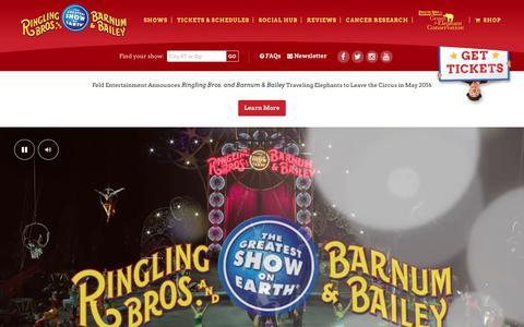Screenshot of Home Page ringling.com - Home - Ringling Bros. Circus - captured Jan. 15, 2016