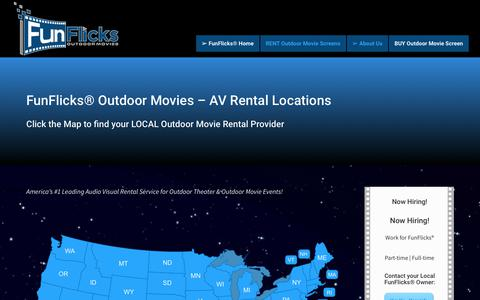 Screenshot of Locations Page funflicks.com - Nationwide AV Rental Locations | Rent Audio Visual for Outdoor Theaters - captured Sept. 3, 2018
