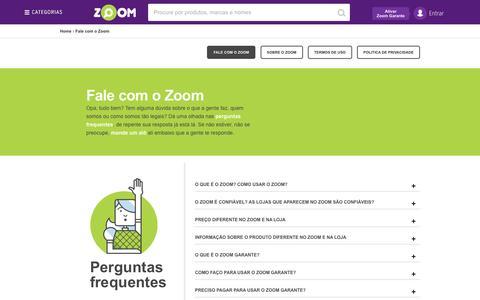 Screenshot of Contact Page zoom.com.br - Zoom - Busque, Compare, Escolha o menor preço para comprar mais barato! - captured Aug. 20, 2016