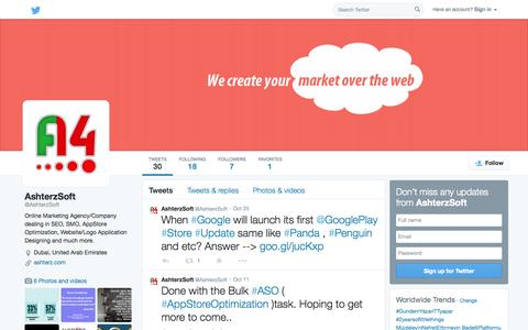 Screenshot of Twitter Page twitter.com - AshterzSoft (@AshterzSoft) | Twitter - captured Nov. 2, 2014