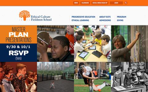 Screenshot of Home Page ecfs.org - Ethical Culture Fieldston School  Home - captured Sept. 25, 2014