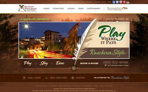 Screenshot of Home Page jacksoncasino.com - Casino in Jackson CA | Indian Casinos in Sacramento California - captured Sept. 19, 2014