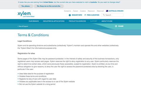 Screenshot of Terms Page xylem.com - Terms and Conditions - Xylem Inc.   Xylem Australia - captured Feb. 14, 2018