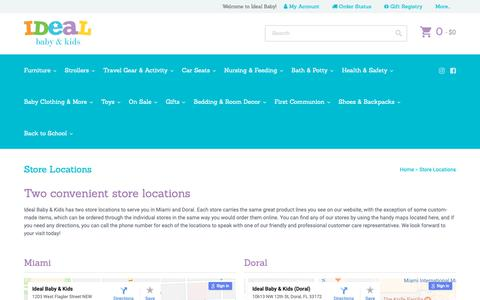 Screenshot of Locations Page idealbaby.com - Ideal Baby & Kids Store Locations - idealbaby.com - Ideal Baby - captured Oct. 11, 2018