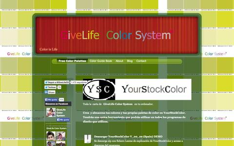 Screenshot of Home Page givelifecolorsystem.com - Download  Free Color Palettes  in CMYK with 2265 colors  and  RGB with 5101 colors - captured Sept. 26, 2014