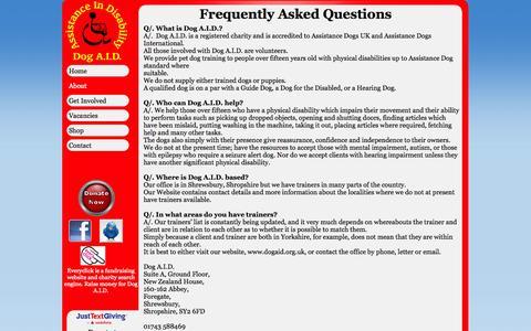 Screenshot of FAQ Page dogaid.org.uk - FAQ - Dog A.I.D - captured Oct. 5, 2014