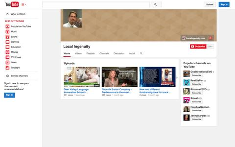 Screenshot of YouTube Page youtube.com - Local Ingenuity  - YouTube - captured Oct. 23, 2014