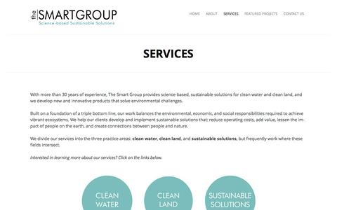 Screenshot of Services Page thesmartgroupinc.com - Services | - captured April 9, 2016