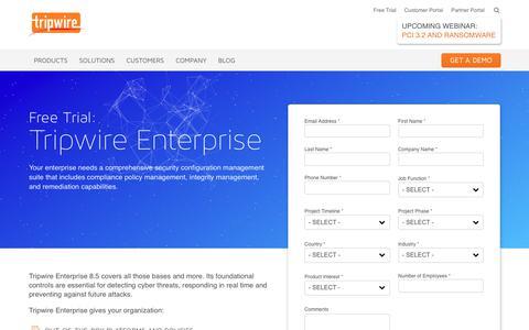 Screenshot of Trial Page tripwire.com - Tripwire Enterprise Free Trial - captured Feb. 18, 2018