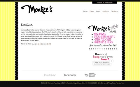 Screenshot of Locations Page shopmonkees.com - Monkee's Franchising, LLC |   Locations - captured Oct. 26, 2014