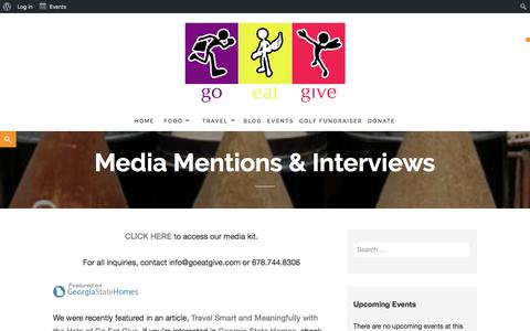 Screenshot of Press Page goeatgive.com - Media Mentions & Interviews – Go Eat Give - captured May 20, 2017