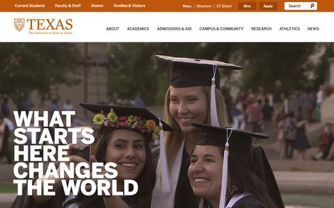 Screenshot of Home Page utexas.edu - The University of Texas at Austin - captured May 24, 2019