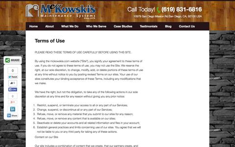 Screenshot of Terms Page mckowskis.com - Terms of Use for McKowski's Maintenance Systems - captured Oct. 27, 2014
