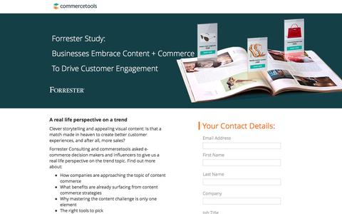 Screenshot of Landing Page commercetools.com - Forrester Study on Content + Commerce - captured April 27, 2017