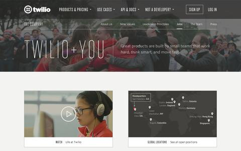 Screenshot of Jobs Page twilio.com - Twilio - Jobs for DOers - captured Nov. 17, 2015