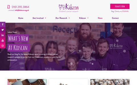 Screenshot of Press Page kidscan.org.uk - Latest News & Blog | Kidscan Children's Cancer Research - captured Oct. 15, 2018