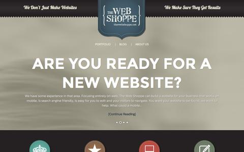 Screenshot of Home Page thewebshoppe.net - Fargo Web Design and Web Marketing - captured Sept. 23, 2014