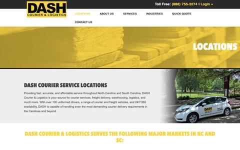 Screenshot of Locations Page dashcourier.com - Locations - NC & SC Freight Delivery | DASH Courier - captured Oct. 7, 2018