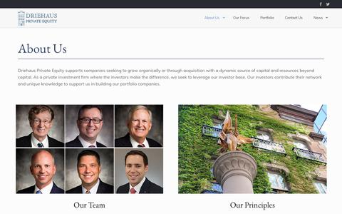Screenshot of About Page driehauspe.com - Driehaus Private Equity | About Us - captured Oct. 9, 2018