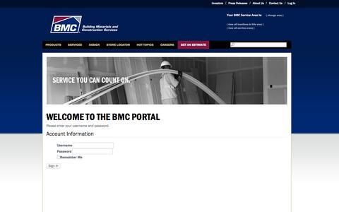 Screenshot of Login Page buildwithbmc.com - BMC - captured Jan. 22, 2016