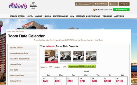 Screenshot of atlantiscasino.com - Atlantis Room Rate Calendar | Best Rate Guaranteed - captured March 20, 2016