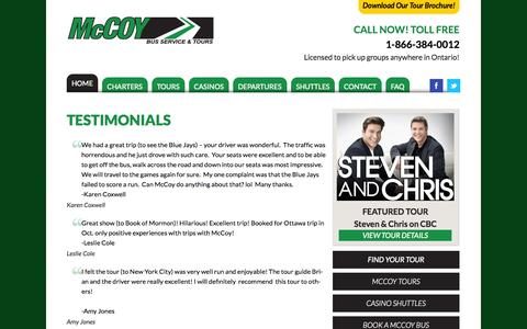 Screenshot of Testimonials Page gomccoy.com - Testimonials | McCoy Bus Service & Tours - captured Oct. 27, 2014