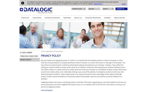 Screenshot of Privacy Page datalogic.com - Privacy Policy | Datalogic Spa - captured Sept. 19, 2014