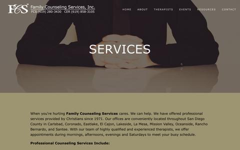 Screenshot of Services Page fcssandiego.com - Services — Family Counseling Services, Inc. - captured April 25, 2016