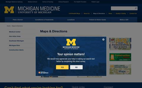 Screenshot of Maps & Directions Page uofmhealth.org - Maps & Directions   Michigan Medicine - captured March 30, 2017