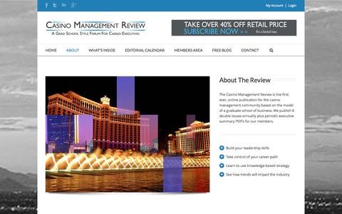 Screenshot of About Page casinomanagementreview.com - About | Casino Management Review - captured Oct. 27, 2014
