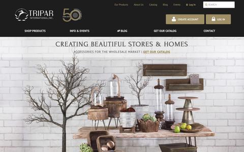 Screenshot of Home Page tripar.com - Tripar International, Inc. - Wholesale Visual Displays & Giftware - captured Oct. 20, 2018
