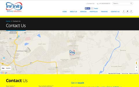 Screenshot of Contact Page infinitetechnosolutions.com - Web site Development Jodhpur| e-commerce website development| website designing company| Web Design Jodhpur| Seo In Jodhpur| Cheap Hosting in Jodhpur| Web Design| Web site Development | Web Design India| Web Development Company - captured Sept. 30, 2015