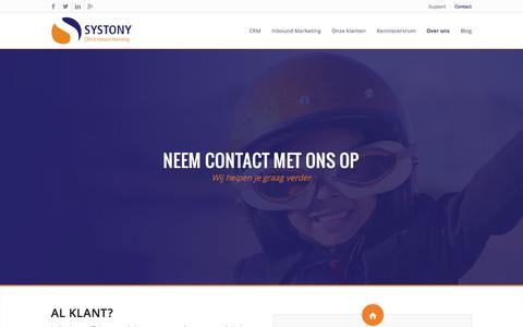 Screenshot of Contact Page systony.nl - Neem contact met ons op - captured Oct. 7, 2014