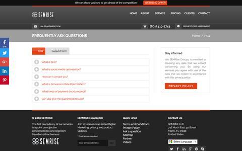 Screenshot of FAQ Page semrise.com - Ask a question to SEMRISE LLC - captured July 20, 2016