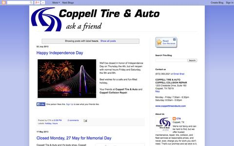 Screenshot of Hours Page coppellauto.com - Coppell Tire & Auto: hours - captured Oct. 3, 2014
