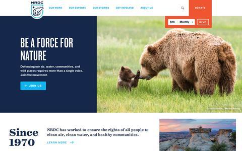 Screenshot of Home Page nrdc.org - NRDC - captured Aug. 17, 2017