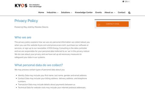 Screenshot of Privacy Page kyos.com - Privacy Policy - KYOS - captured July 26, 2019