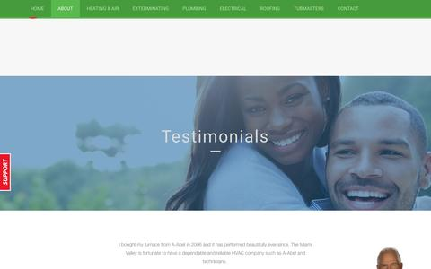 Screenshot of Testimonials Page a-abel.com - Testimonials A-Abel A Family of Services - captured Nov. 17, 2016