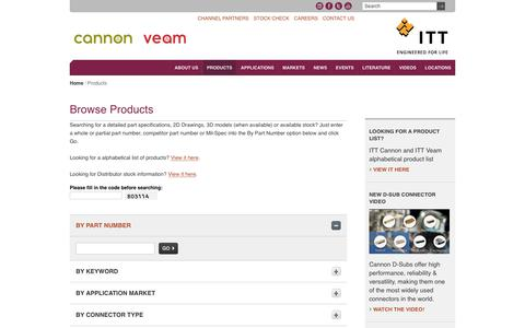 Screenshot of Products Page ittcannon.com - Products | ITT Cannon - captured July 14, 2019