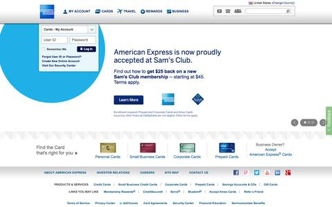 Screenshot of Home Page americanexpress.com - American Express Credit Cards, Rewards, Travel and Business Services - captured Oct. 24, 2015