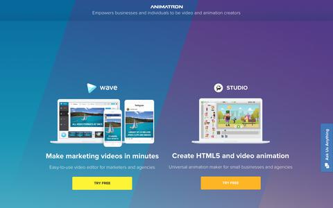Screenshot of Home Page animatron.com - Social video maker and animation maker | Animatron Wave - captured June 16, 2017