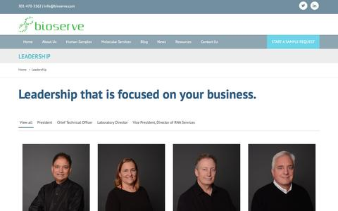 Screenshot of Team Page bioserve.com - Leadership | Samples & Molecular Services | BioServe.com - captured July 29, 2016